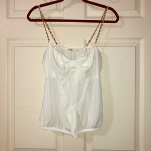 Gold Chain Strapped Tank Top SIZE: LARGE